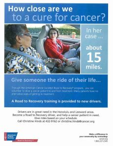 Road to Recovery Honolulu Hawaii Pacific American Cancer Society