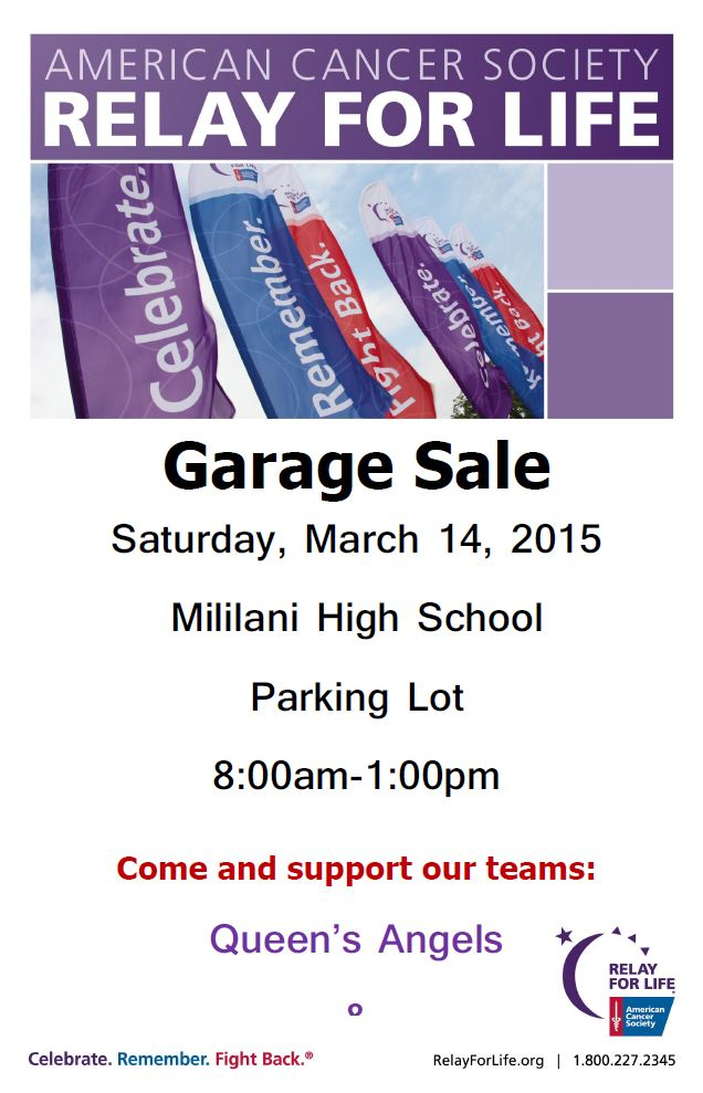 Queens Angels Garage Sale Flier Mar 14 2015