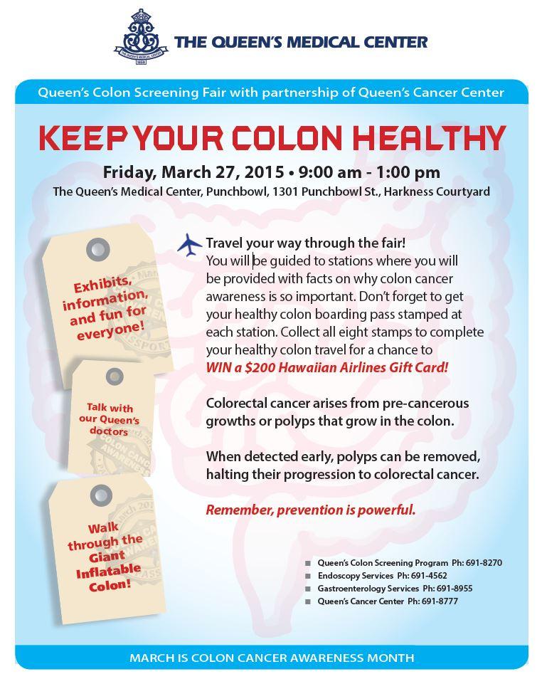 Queens Colon Cancer March 2015 Flier