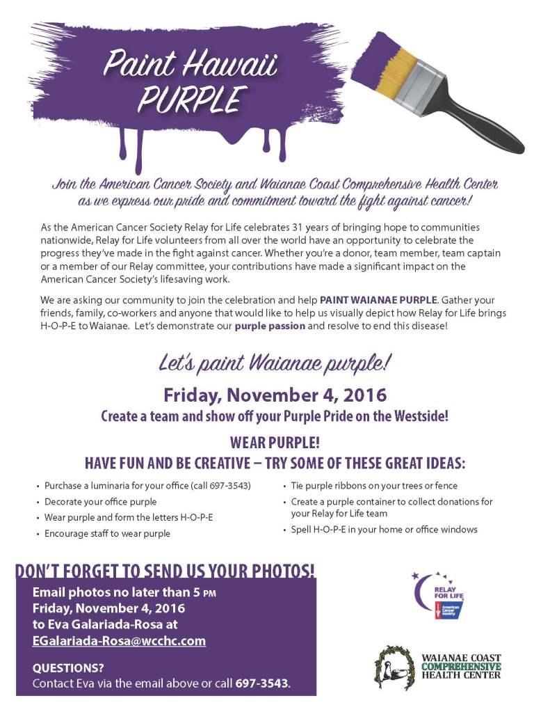 Waianae supports Paint Hawaii Purple